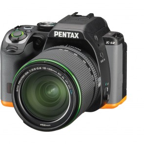 Pentax K-S2 DSLR Camera (Black/Orange) with DA 18-135mm WR Lens
