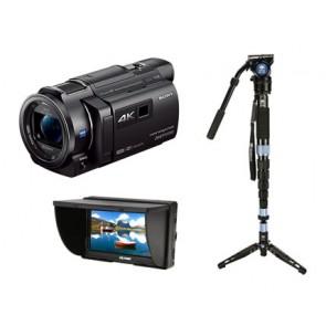 Sony FDR-AXP35 4K Camcorder + Sirui Monopod + 5' LCD Monitor